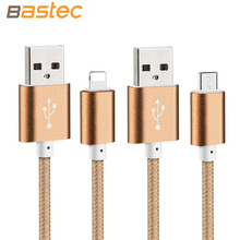Bastec USB Data Charger Cable Nylon Braided Wire Metal Plug Micro USB Cable for iPhone 6