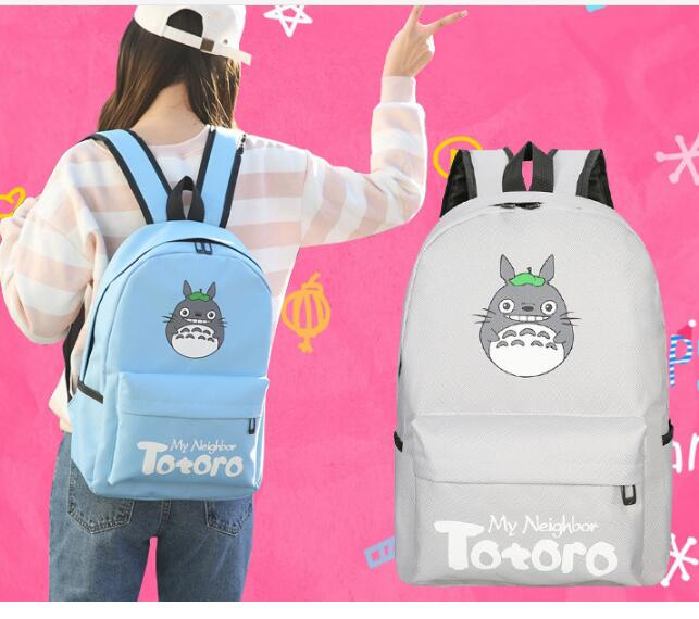 Lowest price Totoro Kawaii Totoro Emoji Printing Women Backpack Mochila School Backpacks for Teenage Girls 50pcs lot fr9220