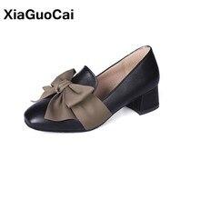 купить High Heels Women Shoes Spring Autumn Slip-on PU Leather Female Pumps Bowknot Thick Square Heel Mature Ladies Single Footwear по цене 989.28 рублей