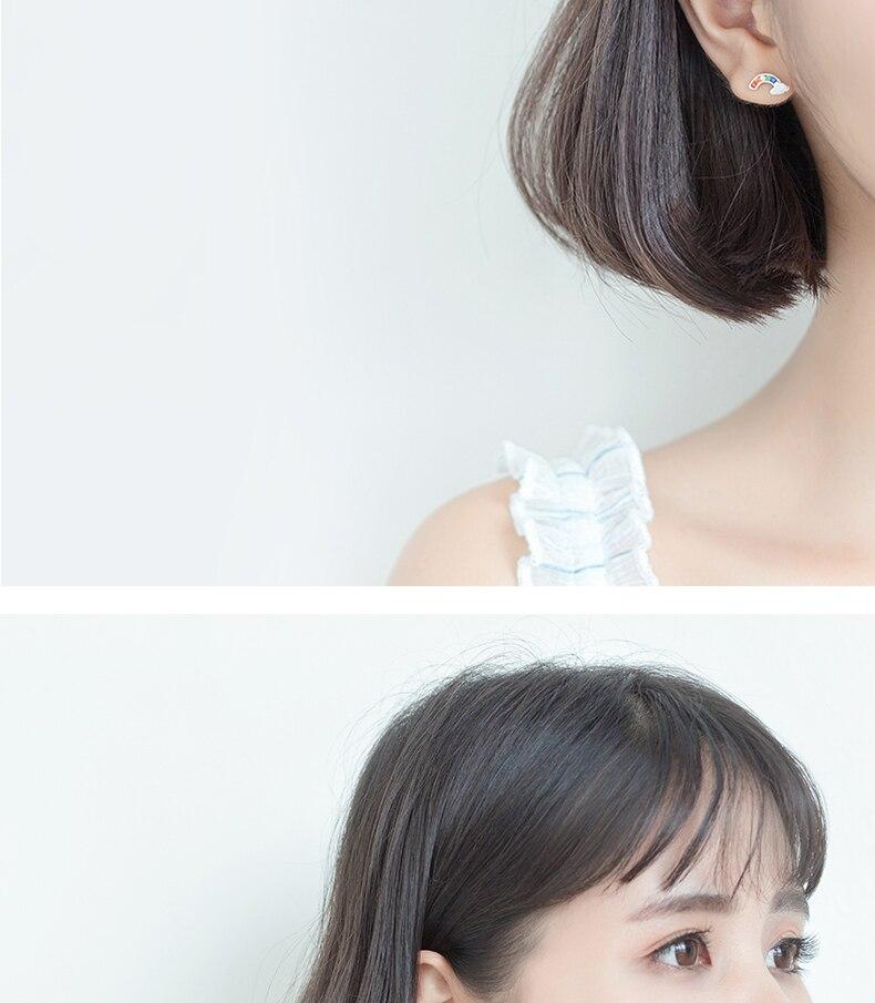 XIHA 925 Sterling Silver Earrings Minimalist Rainbow CZ Zircon Colorful Austrian Crystal Earrings Korean Earings Women Jewelry   (10)
