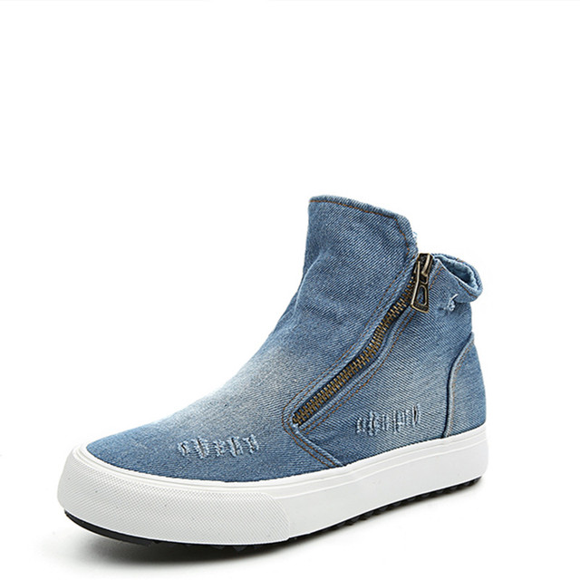 New 2016  Platform Denim Shoes Women Spring High Top Jean Canvas Shoes Woman Casual Skate Shoe Girls Side Zipper