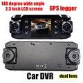 140 градусов широкий угол Автомобиля DVR 2.3 дюймов ЖК-Экран с Двумя Объективами Автомобильный видеорегистратор Ночного Видения GPS logger