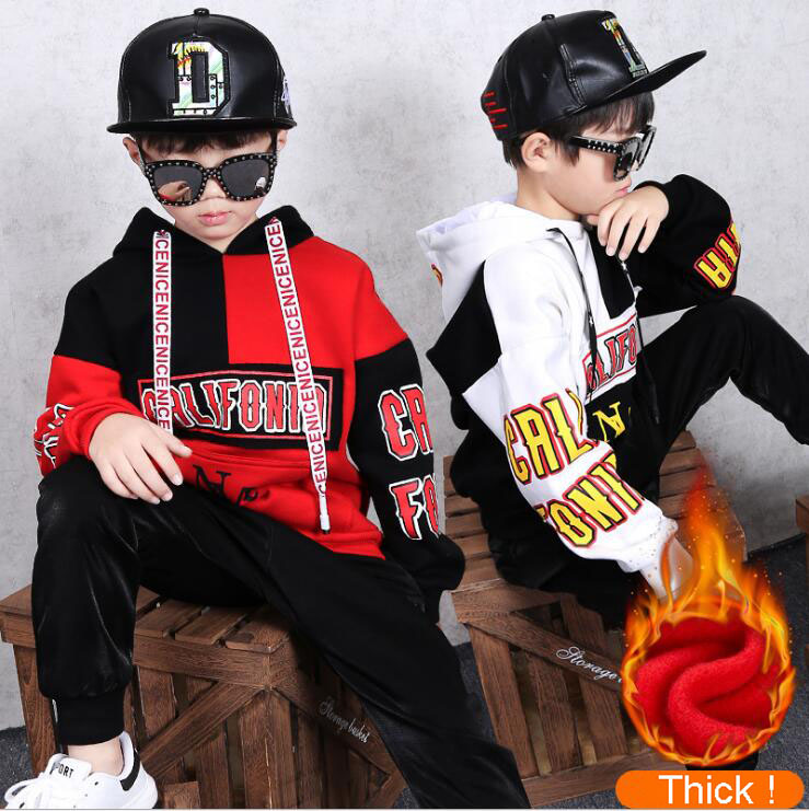 2Pcs Teenager Clothing Set Warm Hoodies for Big Boys Girls Thick Tracksuit Sweatshirts Harem Pants Suit For 4 6 8 10 12 14 Years