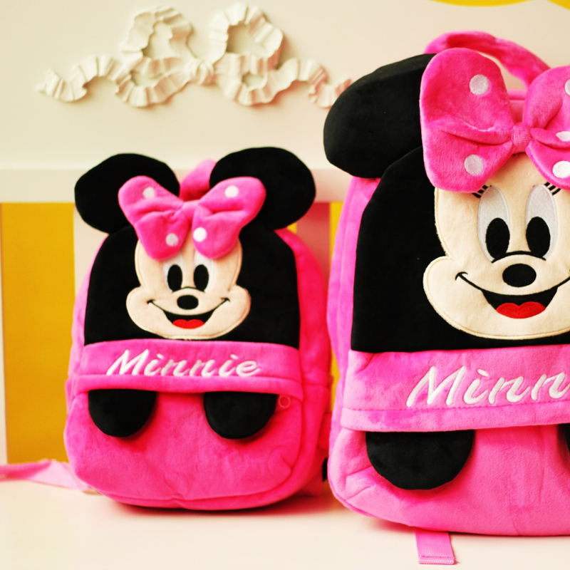 1pcs 25cm or 35cm Creative 3D minnie mouse Plush Backpack Stuffed plush Children s Bag Backpack Toys!for girl birthday present
