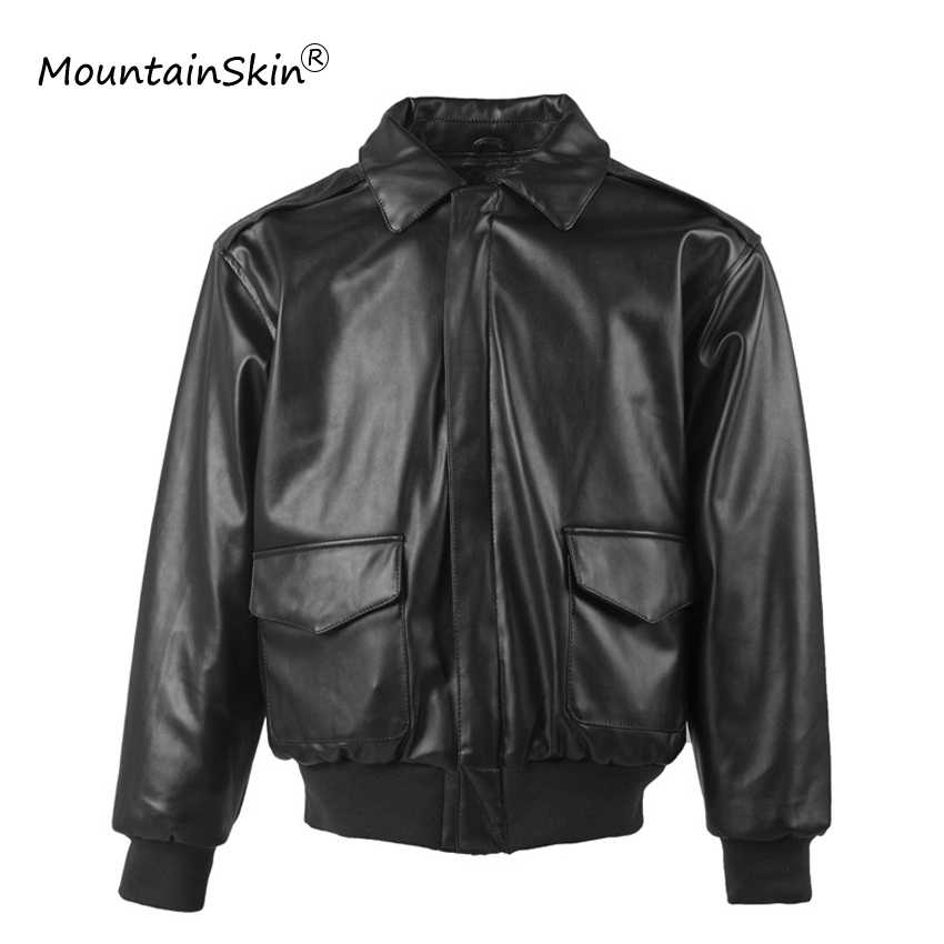 Mountainskin erkek Rahat Askeri Sıcak Ceket Deri Rüzgar Geçirmez Bombacı Ceket Erkek Gevşek Kalın Ceket Marka Outerwears LA724
