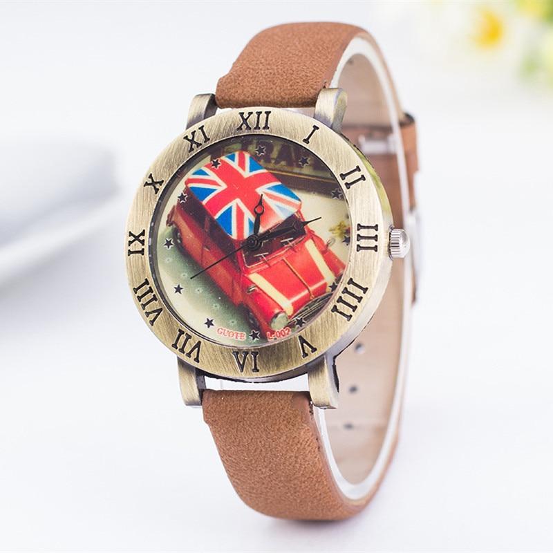 British Style Vintage English Cab Taxi Printed Ladies Fashion Quartz Wrist Watches Womens Watches Roman Numeral