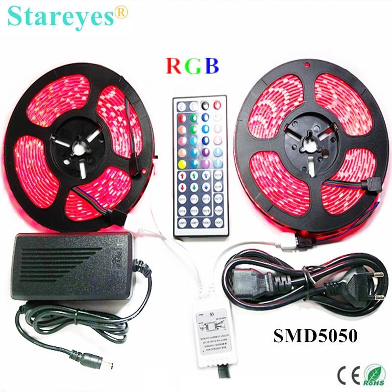 1 Unidades SMD 5050 60 LED/M 10 metros RGB LED tira cinta de iluminación IP65 tira impermeable 44 clave Remoto + 6A adaptador