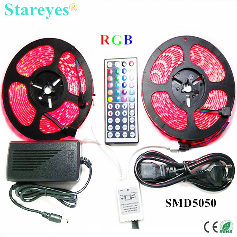 1 set SMD 5050 60 LED / M 10 Meter RGB LED Strip tape Zaklamp verlichting IP65 Waterdichte strip + 44 sleutel Afstandsbediening + 6A Power Adapter