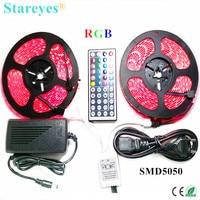 1 set SMD 5050 60 LED/M 10 Meters RGB LED Strip tape Flashlight lighting IP65 Waterproof strip+44 key Remote+6A Power Adapter