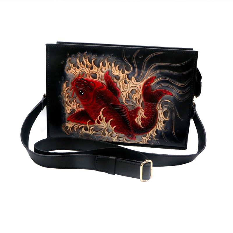 Top quality designer Hand carved men flap bag genuine leather shoulder crossbody bag in Crossbody Bags from Luggage Bags