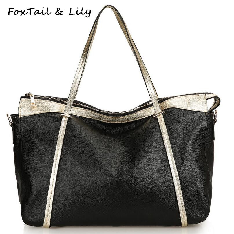 ФОТО FoxTail & Lily Genuine Leather Women Bag First Layer Cowhide Shoulder Crossbody Bags Fashion Brand Large Capacity Female Bag
