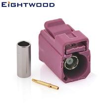 Eightwood Fakra обжимной разъем Женский РЧ коаксиальный разъем ключ код H фиолетовый для gps телематики спутниковая антенна адаптер