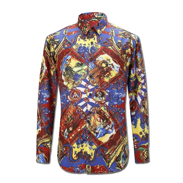 2016 Hombres de Impresión Camisas Hombre Camisa Masculina de Los Hombres de Moda Casual Slim Fit Manga Larga Gira el Collar Abajo de Gran Tamaño camisas
