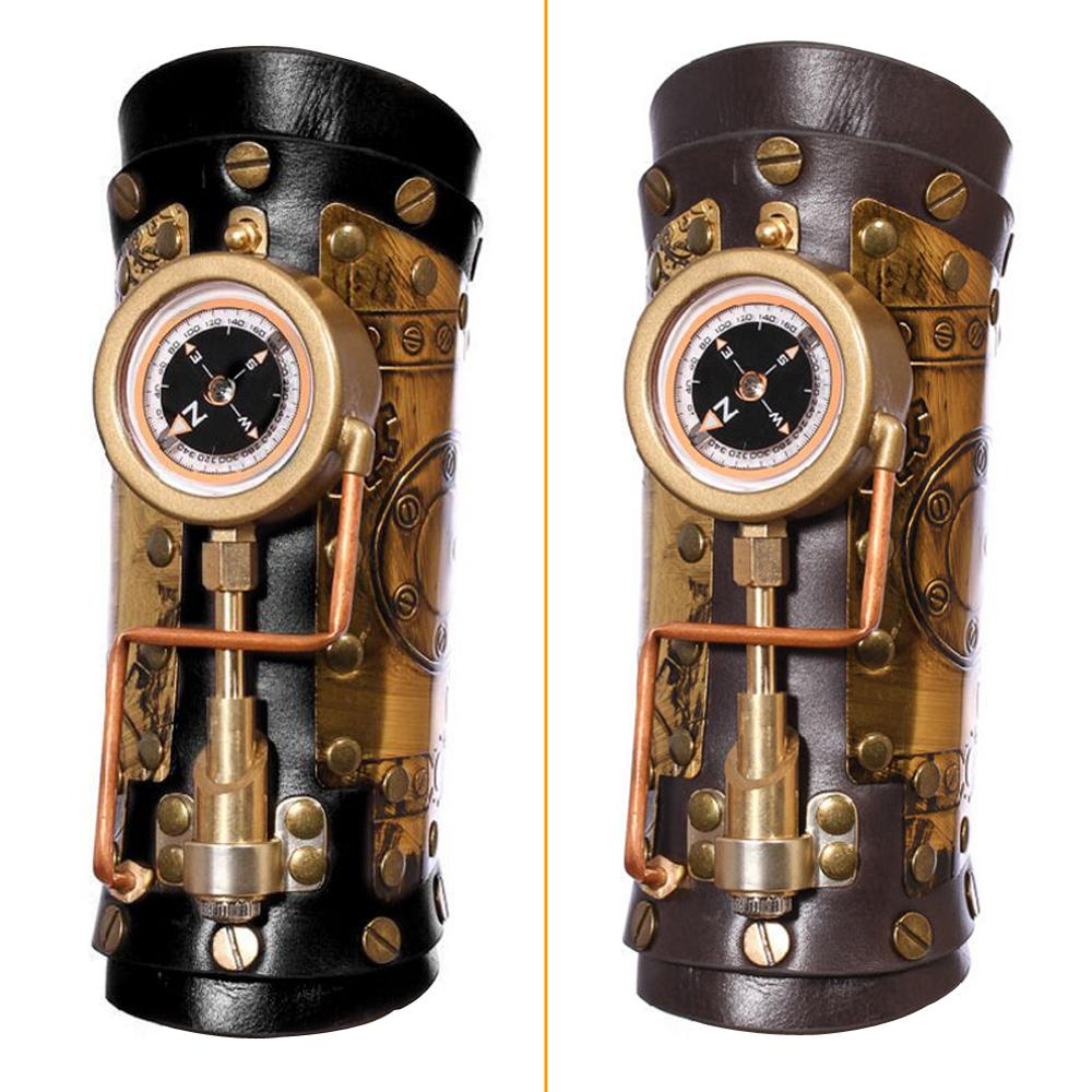 """""""Hot DealsGlove Arm-Bracelet Steampunk-Accessory Genuine-Leather New with Led-Compass Gothic HalloweenÉ"""