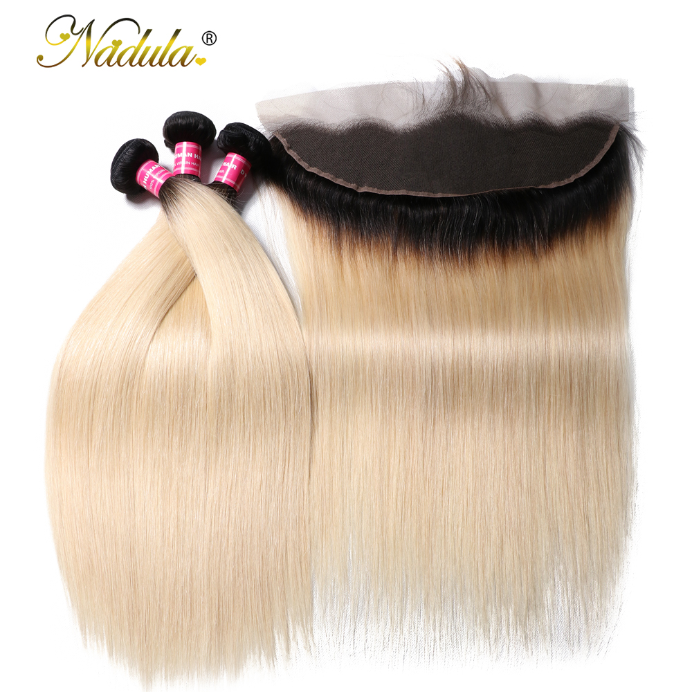 Nadula Hair 1B 613 Brazilian Straight Human Hair Bundles With Frontal 13x4 Lace Frontal Closure With