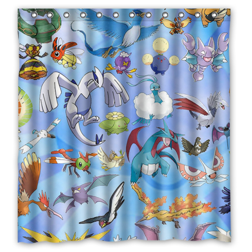 APN Anime Pokemon Pikachu Custom Shower Curtain 66 X72 Waterproof Fabric For