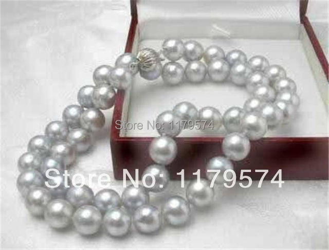 """New 8MM Gray Akoya Cultured Shell Pearl Necklace 18"""" AAAWJ131"""
