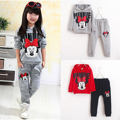 2016 Baby Toddler Minnie Girls Cartoon Mouse Printed Long  Sleeve Hoodies+Pants Outfits Set Sports Clothes Sport UK