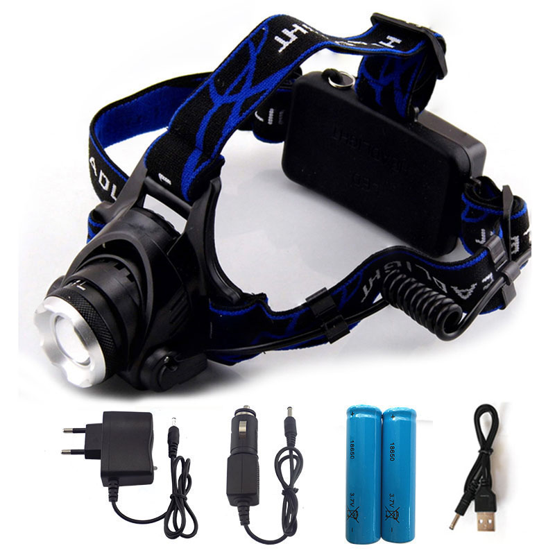LED XM-L T6 Headlamp 6000Lm Headlight Rechargeable Head Light Lamp+ 2*18560 Battery + Charger +Car Charger + USB Cable