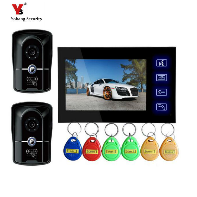 Yobang Security Freeship 7 Inch Video Door Bell Phone Intercom System Apartment Video Intercom Monitors IR Night Vision Camera