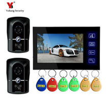 Yobang Security freeship 7 inch Video door bell phone Intercom System Apartment Video intercom Monitors IR Night Vision Camera
