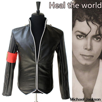 In Memory MJ Michael Jackson Heal the World Handsome Punk With Red Armband England Military Jacket Outwear Collection