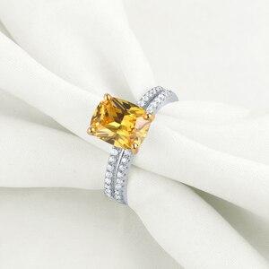 Image 3 - Newshe 2.7Ct黄色クッションカット固体 925 スターリングシルバーの結婚指輪婚約指輪ブライダルセット