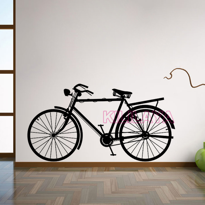Stickers vintage bicycle vinyl wall sticker bike wall for Decalque mural