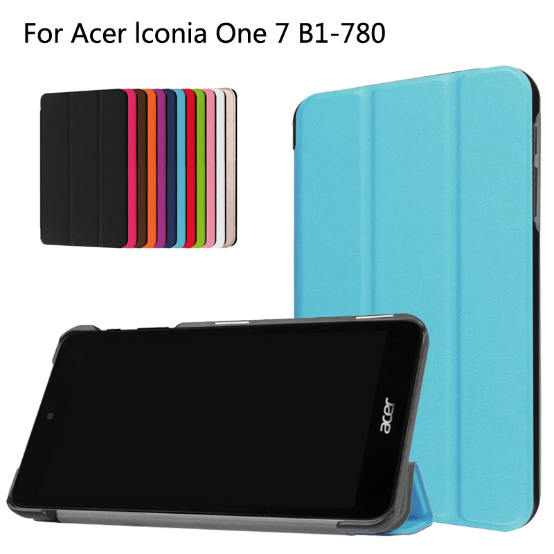 Ultra Slim Lightweight Custer 3-Folding Folio Stand PU Leather Magnetic Shell Cover Case For Acer Iconia One 7 B1-780 Tablet ultra slim custer fold folio stand pu leather magnetic cover protective skin case for lenovo tab3 7 tb3 730m tb3 730f 7 tablet