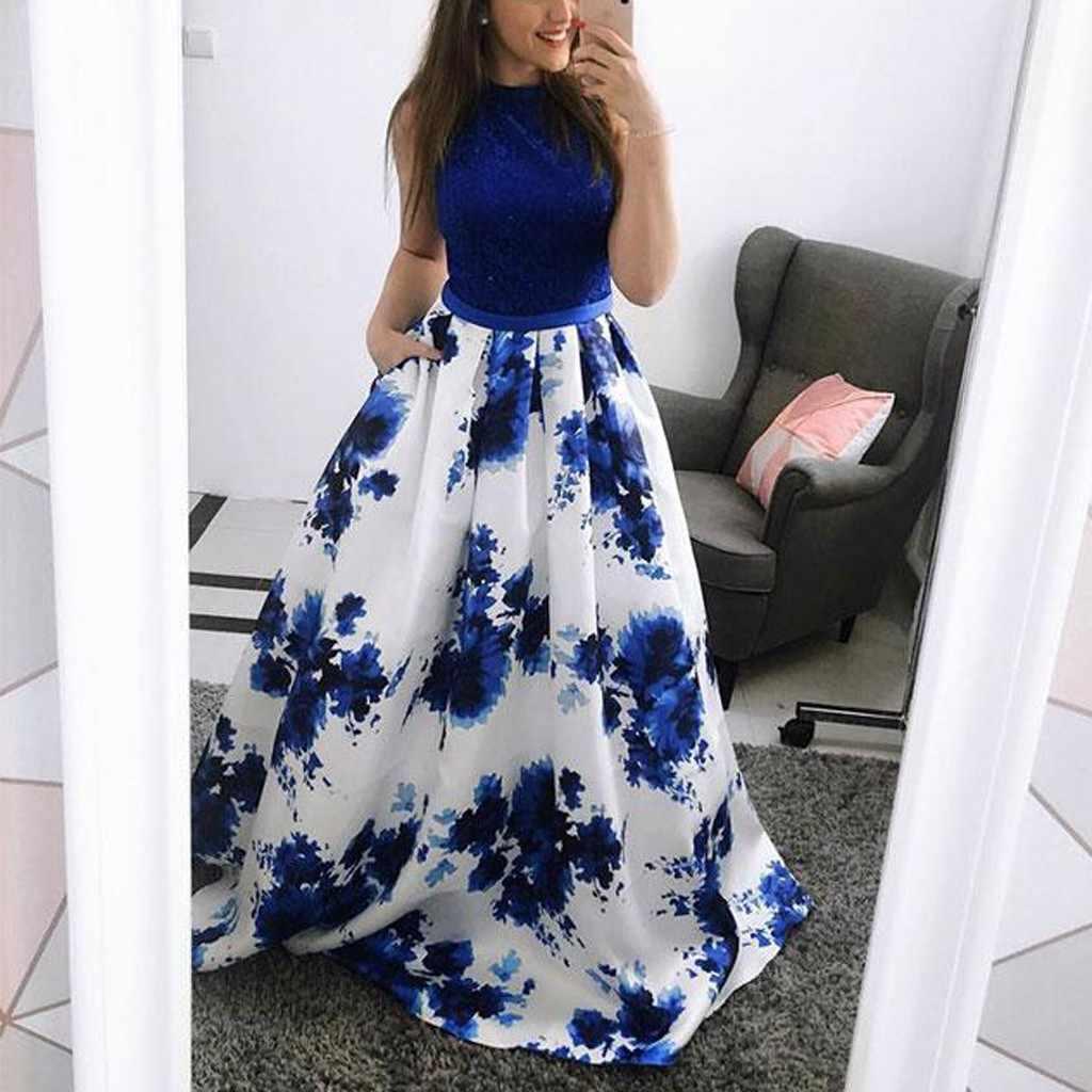 Frauen Sexy Lange Kleid Mode Druck Patchwork Oansatz Ärmellose Abendessen Anzug Ärmelloses Kleid Frau Party Nacht Vestidos 2019