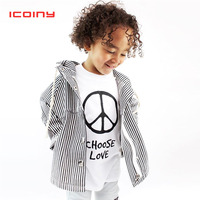 Boys Girls Hooded Jackets 2019 Autumn Toddler Cotton Striped Zips Cardigans Kids Hoodies Coats Outwear Children 1 2 3 4 Years