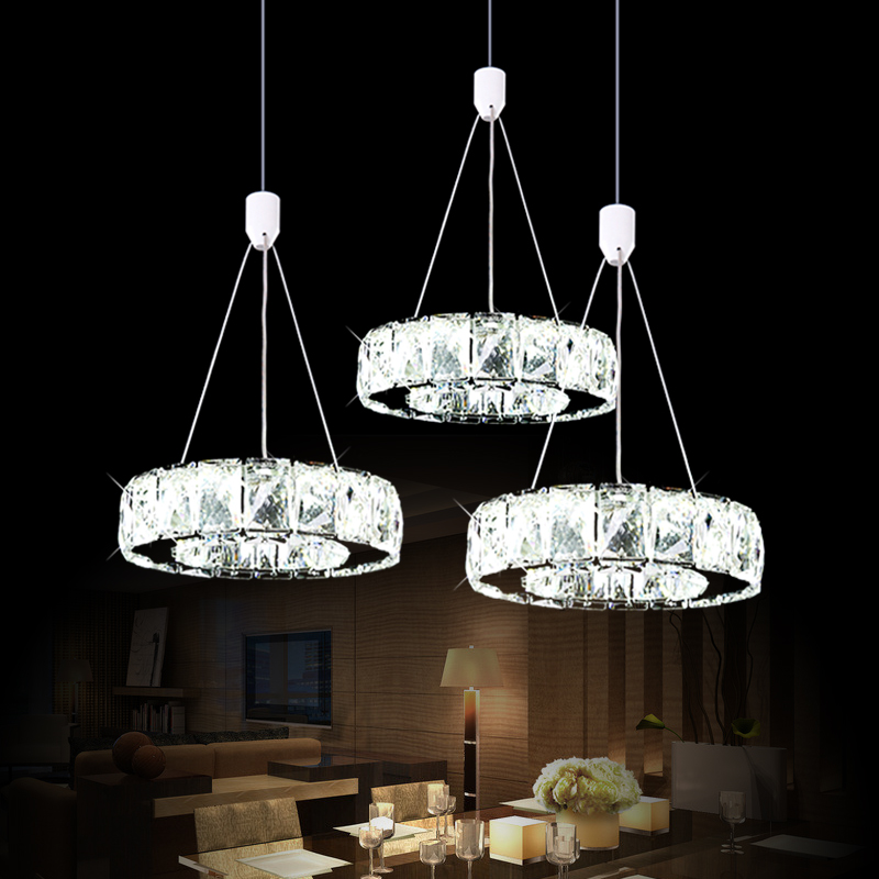 цена crystal LED minimalist staircase restaurant round three crystal pendant lamp aisle dining room pendant lights SJ4150