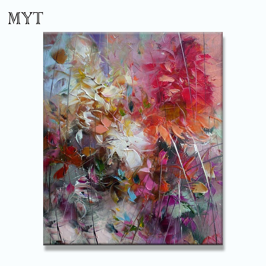 Big 100 hand painted floral purple abstract oil painting modern wall art living room no frame