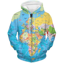 YFFUSHI 2019 Plus Size 5XL Zipper Jacket Men World Map 3d Print Coat Cool Outwears Hip Hop Hoodies