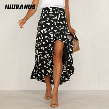IUURANUS 2019 Sexy Split Ruffle Print Skirt Women Casual High Waist Skirts Ruffle Female Summer Beach Long Skirt Plus Size self belt ruffle waist high split skirt