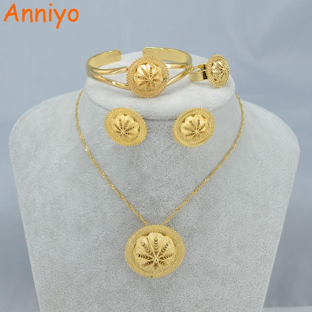 Anniyo Habesha Jewelry set Ethiopian Bridal Wedding Gold Color African set Nigeria Sudan Eritrea Kenya Jewelry