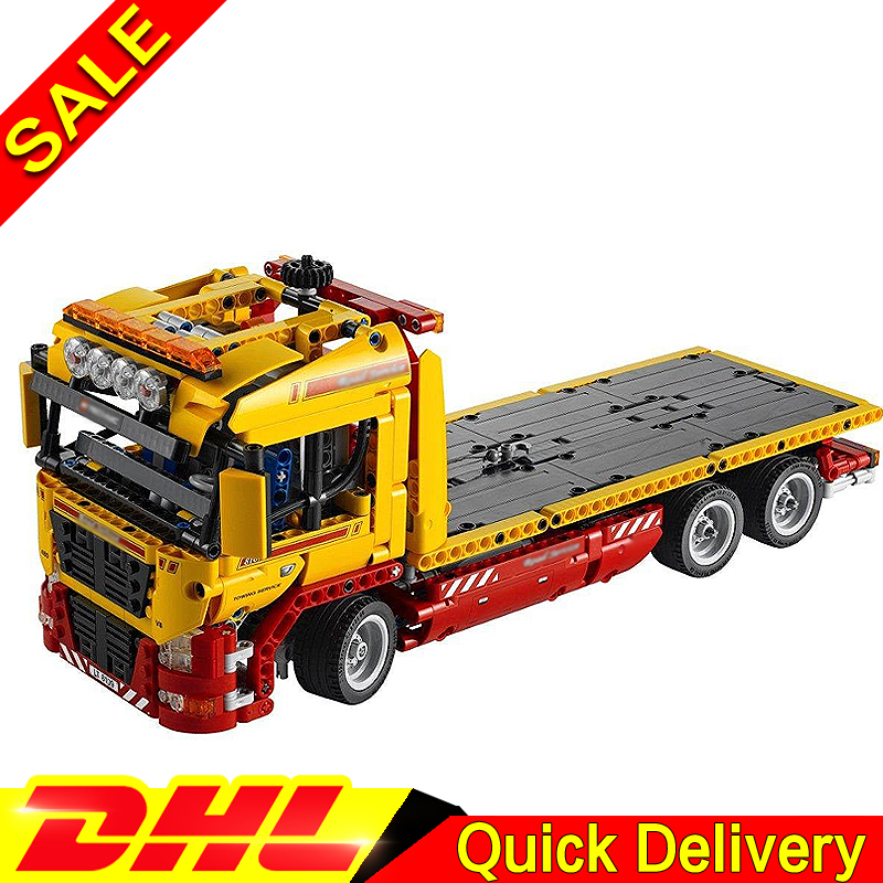 LEPIN 20021 technic series 1143pcs Flatbed trailer Model Building blocks Bricks Toy Gift Educational Car lepins Clone 8109 lepin 21003 series city car beetle model building blocks blue technic children lepins toys gift clone 10252