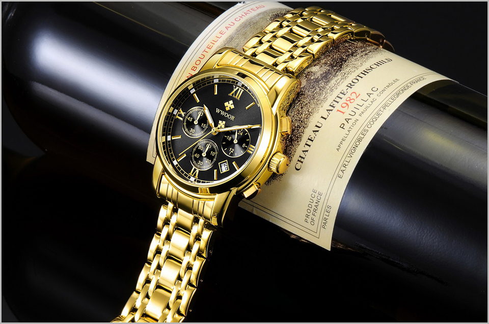 New Gold Quartz Wristwatch Men Watches Top Brand Luxury Stainless Steel Male Wrist Watch Golden Clock Relogio Masculino (8)