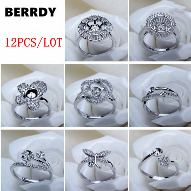 Fashion Charm Exquisite Pearl Ring Accessories Ring Findings Ring Jewelry Parts Fittings Mountings 12pcs lot