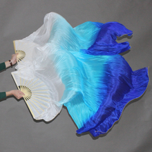1 pair (left+right) 100%Real silk belly dance fan veil white+turquoise+blue 1 pair left