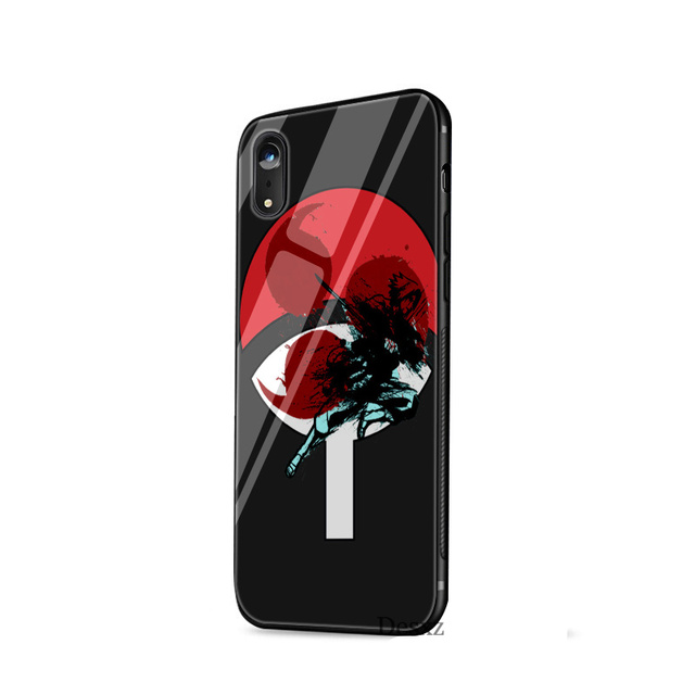 Naruto Clan Uchiha Funda de Teléfono de Vidrio Templado para iPhone (10 Colores)