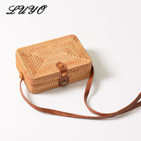 Handmade Rattan Woven Round Crossbody Bag For Women Vintage Straw Square Box Messenger Bag Lady Summer Cute Beach Shoulder Bag