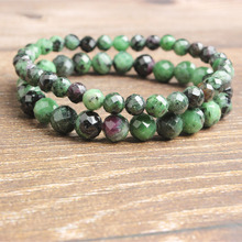 LanLi 6/8/10mm fashion Jewelry Natural faceted epidote stone bracelet series Attractive male and female ornaments amulets