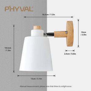 Image 5 - 木製壁灯ベッドサイドウォールランプ壁燭台現代壁ライト寝室用北欧マカロン 6 色ステアリングヘッド E27 85 285V