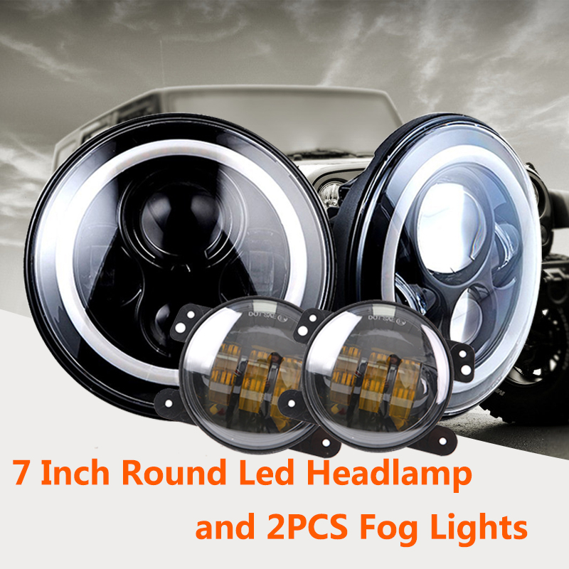 7 Inch Round Led Headlamp for 97-15 Wrangler with Halo Angel Eye and 2PCS Fog Lights for Jeep JK LJ CJ Hummer H1 H2 7 inches led starry headlights with devil demon eye and led angel for jeep wrangler jk 2 pcs