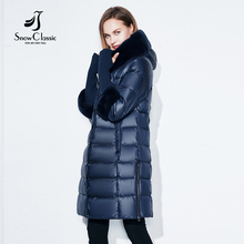 Snowclassic Inverno Mulheres Jaqueta Casaco Acolchoado Com Capuz Casacos Três Quartos Casacos Quentes Gola De Pele Zipper Sólido de Alta Qualidade Novo