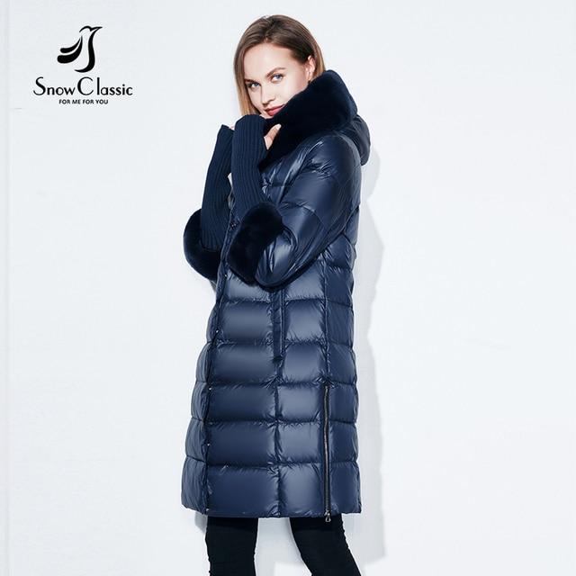 Snowclassic 2017 новых женщин зимняя куртка длинные парки настоящее Кролик меховой воротник пальто 17164
