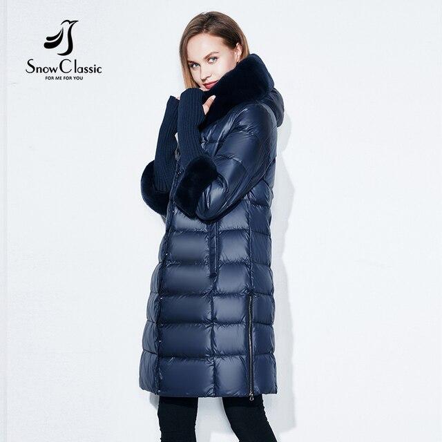 Snowclassic חורף מעיל נשים עם ברדס רוכסן מעילים חמים צווארון פרווה מעיל שלושה רובע מוצק באיכות גבוהה חדש