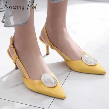 Krazing pot oriental pointed toe stiletto high heels buckle straps wedding chic design fasteners decoration special sandals L58