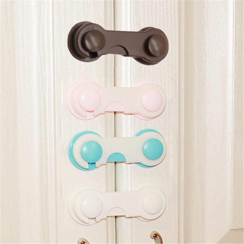 Baby Multifunctional Safety Finger Care Plastic Adjustable Kids Drawer Cabinet Safety Lock  Buckle Attach to Fridge and Drawer
